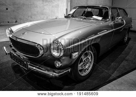 STUTTGART GERMANY - MARCH 02 2017: Sports car Volvo P1800 ES (Shooting-brake) 1972. Black and white. Europe's greatest classic car exhibition