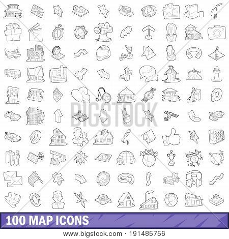 100 map icons set in outline style for any design vector illustration