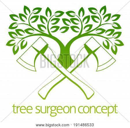 A crossed axes and tree Tree Surgeon or gardener concept design
