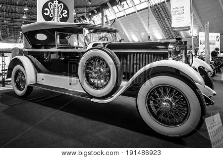STUTTGART GERMANY - MARCH 02 2017: Luxury car Mercedes-Benz 24/100/140 PS Fleetwood D / USA 1924. Black and white. Europe's greatest classic car exhibition