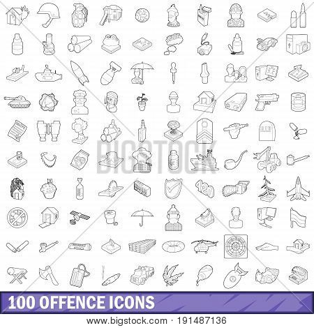 100 offence icons set in outline style for any design vector illustration