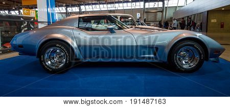 STUTTGART GERMANY - MARCH 02 2017: Sports car Chevrolet Corvette Stingray Targa 1977. Europe's greatest classic car exhibition