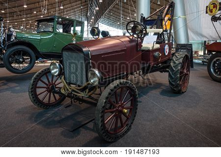STUTTGART GERMANY - MARCH 02 2017: Vintage car Ford Model T as a homemade tractor. Europe's greatest classic car exhibition