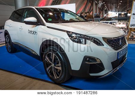 STUTTGART GERMANY - MARCH 02 2017: Compact crossover Peugeot 3008 GT 2016. Europe's greatest classic car exhibition