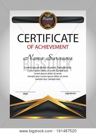 Certificate of achievement diploma. Reward. Winning the competition. Award winner. Vector illustration.