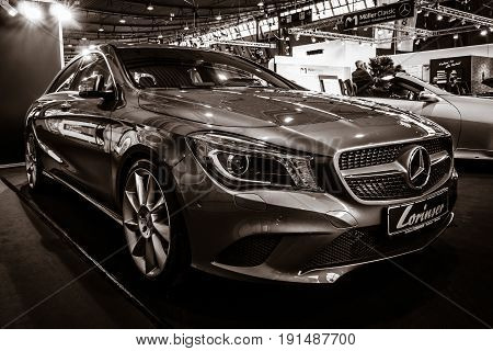 STUTTGART GERMANY - MARCH 02 2017: Compact car Mercedes-Benz CLA200 (C117) 2016. Toning. Europe's greatest classic car exhibition