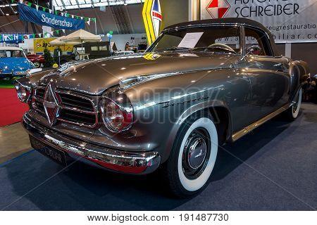 STUTTGART GERMANY - MARCH 02 2017: Vintage car Borgward Isabella Cabriolet (2+2) 1957. Europe's greatest classic car exhibition
