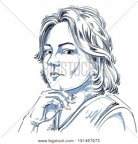 Vector portrait of attractive peaceful woman illustration of good-looking still girl. Person emotional face expression.