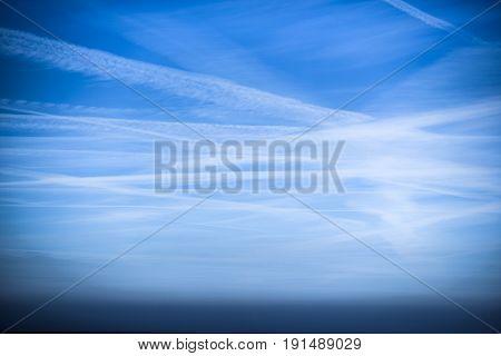 Cirrus clouds blue sky summer time, Poland