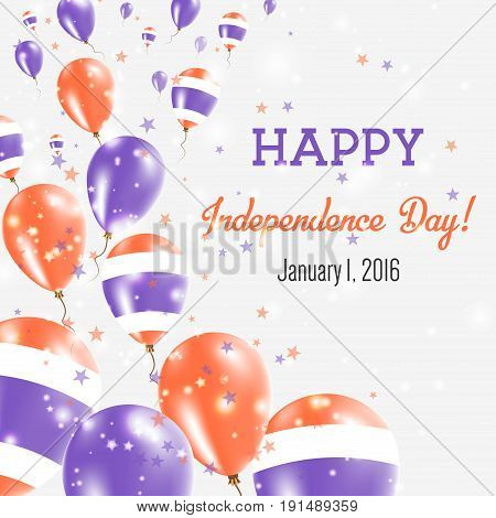 Thailand Independence Day Greeting Card. Flying Balloons In Thailand National Colors. Happy Independ