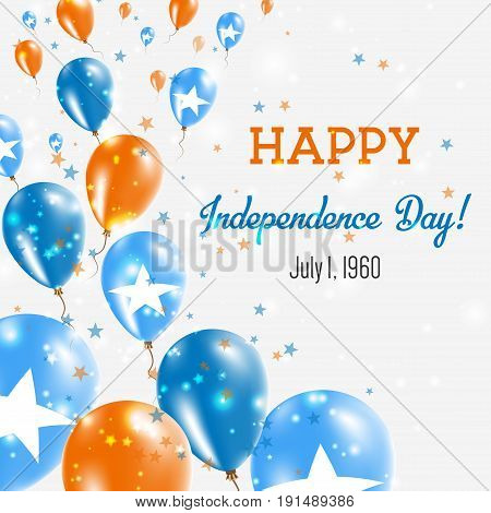 Somalia Independence Day Greeting Card. Flying Balloons In Somalia National Colors. Happy Independen