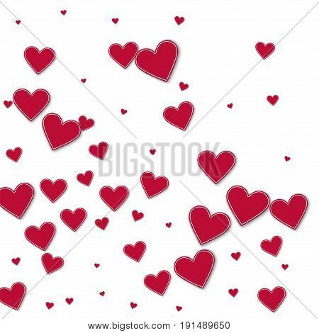 Cutout Red Paper Hearts. Abstract Mess On White Background. Vector Illustration.