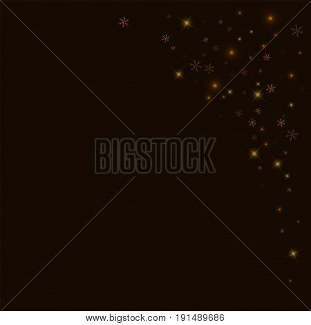 Sparse Starry Snow. Top Right Corner On Black Background. Vector Illustration.