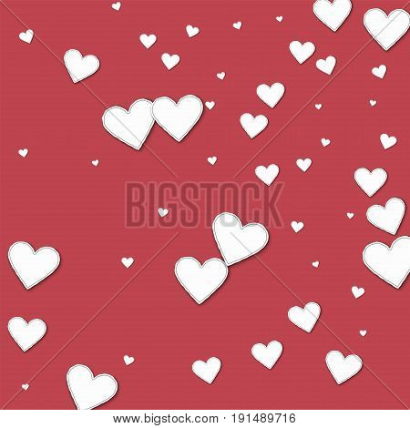 Cutout Paper Hearts. Random Scatter On Crimson Background. Vector Illustration.