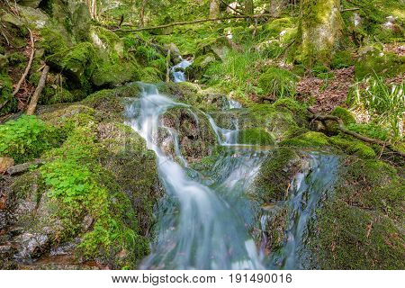 French countryside - Vosges. A river with waterfall in the wild forests of the Vosges.
