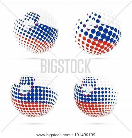Slovenia Halftone Flag Set Patriotic Vector Design. 3D Halftone Sphere In Slovenia National Flag Col