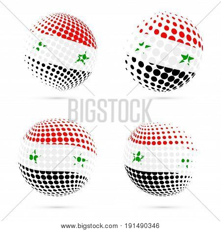 Syria Halftone Flag Set Patriotic Vector Design. 3D Halftone Sphere In Syria National Flag Colors Is