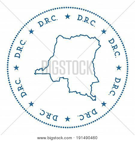 Congo, The Democratic Republic Of The Vector Map Sticker. Hipster And Retro Style Badge With Congo,