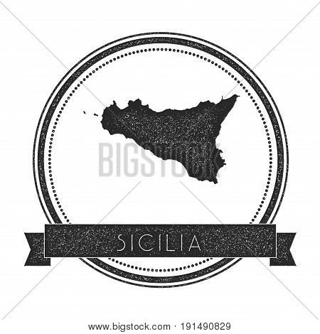 Sicilia Map Stamp. Retro Distressed Insignia. Hipster Round Badge With Text Banner. Island Vector Il
