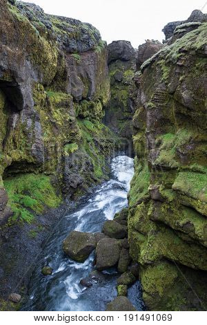 Skogar River Deep Canion With Green Vegetation And Small Waterfalls. South Of Iceland Near Thorsmork