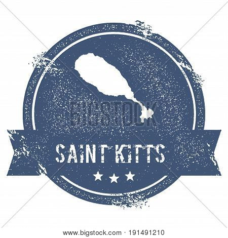 Saint Kitts Logo Sign. Travel Rubber Stamp With The Name And Map Of Island, Vector Illustration. Can