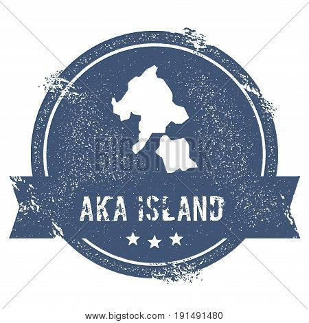 Aka Island Logo Sign. Travel Rubber Stamp With The Name And Map Of Island, Vector Illustration. Can