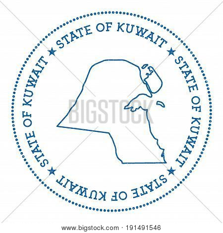 Kuwait Vector Map Sticker. Hipster And Retro Style Badge With Kuwait Map. Minimalistic Insignia With
