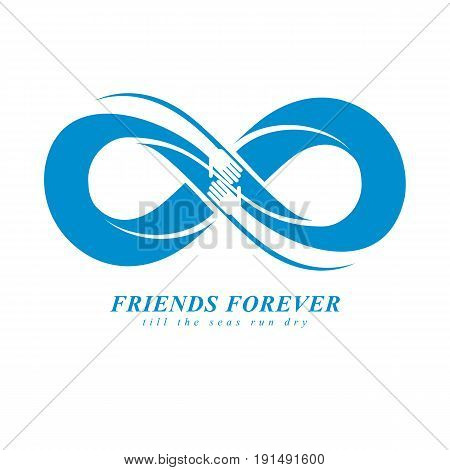 Friends Forever everlasting friendship unusual vector logo combined with two symbols of Infinity and human hands.