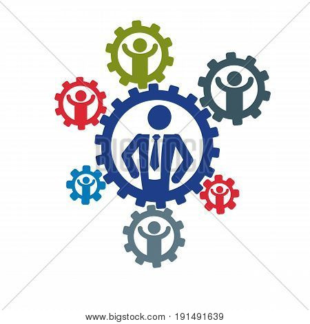 Successful Businessman and Leader creative logo vector conceptual symbol isolated on white background. Special and unique sign. Gears and cogs system. Social leader.