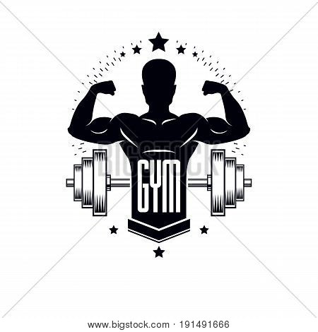 Bodybuilding weightlifting gym logotype sport template retro stylized vector emblem or badge. With bodybuilder silhouette.