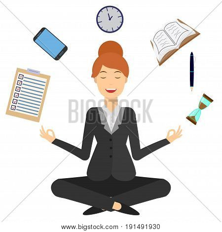 Smiling business woman sitting and mindful meditating in lotus asana in zen peace and mental calmness. Search for solution, brainstorming. Isolated on white.Flat style illustration.