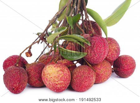 Lychees isolated on white background brown, pink, group, fruit, tropical, asian, ingredient,