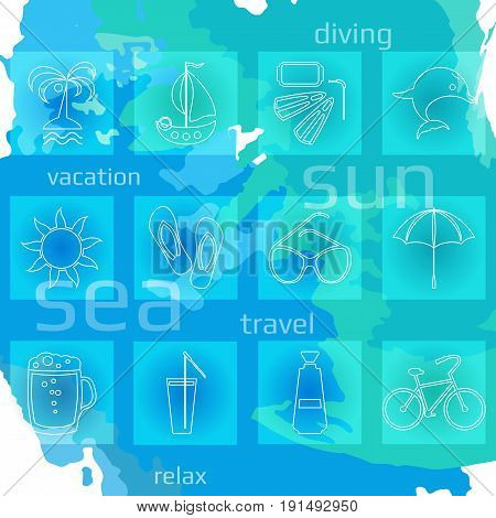 Set of twelve white line vacation icons. Vector illustration