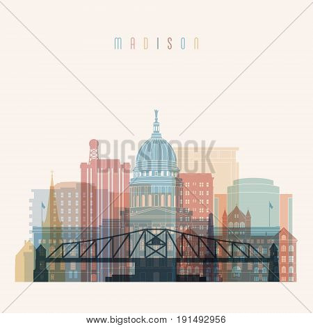 Madison state Wisconsin skyline detailed silhouette. Transparent style. Trendy vector illustration.