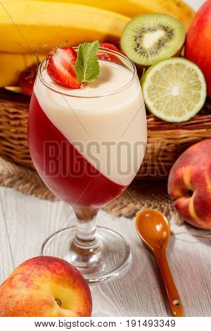 Cherry And Milk Jelly With Strawberry Piece In The Glass, Fresh Strawberries, Nectarine, Lime, Kiwi,