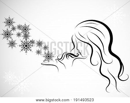 Silhouette of beauty woman blowing to snowflakes