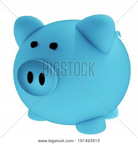 blue piggy bank for savings in 3D render image