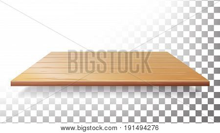 Wooden Table Top, Floor, Wall Shelf Vector. Realistic Wood Texture
