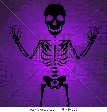Skeleton shadow dim color light purple abstract 3d illustration horizontal