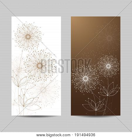 Set of vertical banners. Abstract geometric background with connected lines and dots in a shape of flowers. Vector illustration.