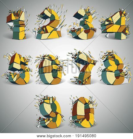 Set of abstract 3d faceted golden numbers with connected black lines and dots. Vector low poly shattered design elements with fragments and particles. Explosion effect numeration with thread.