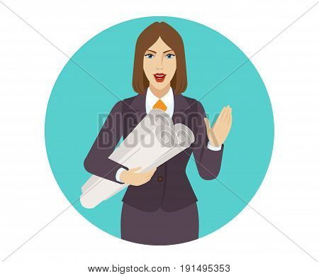 Businesswoman holding the project plans and greeting someone with his hand raised up. Portrait of businesswoman in a flat style. Vector illustration.