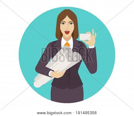 Businesswoman holding the project plans and showing the business card. Portrait of businesswoman in a flat style. Vector illustration.