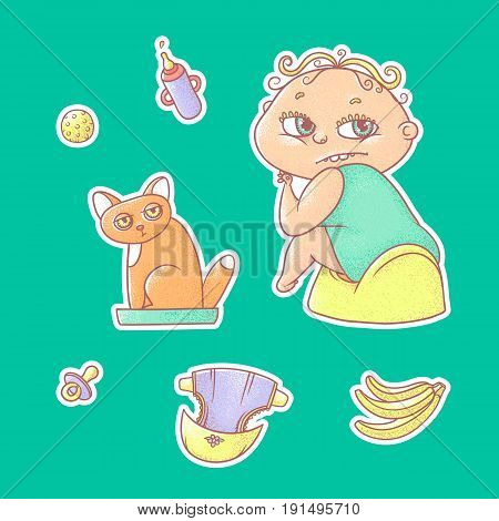 Vector set of color illustrations stickers child sitting on the pot and kitten in the cat litter. Baby bottle with water or milk, other care and food. The chubby curly kid with big eyes and red cat.
