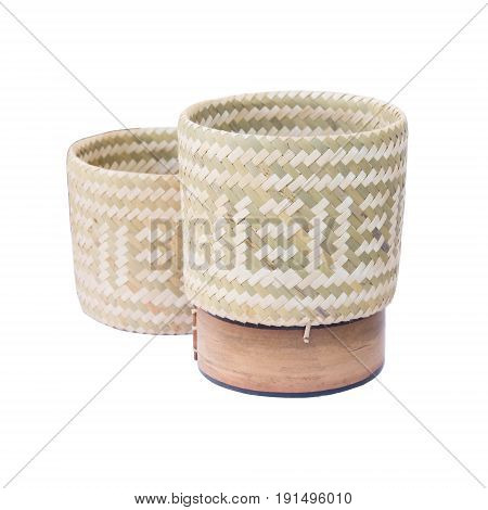 Wicker Rice Or Kratip Or Sticky Rice Isolated On White