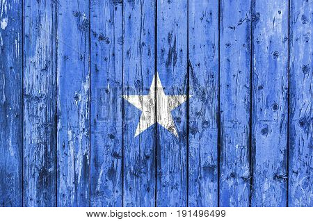 Flag of Somalia painted on wooden frame