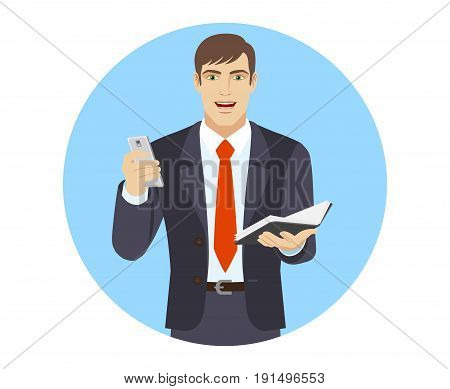 Businessman with mobile phone and organizer. Portrait of businessman character in a flat style. Vector illustration.