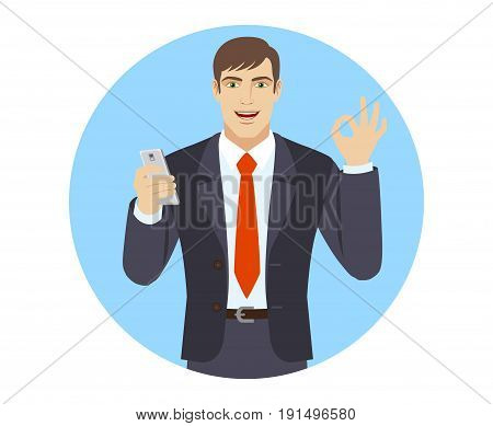 Businessman with mobile phone showing a okay hand sign. Portrait of businessman character in a flat style. Vector illustration.