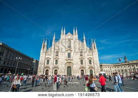 Milan Italy - 21 May 2017 : Milan Cathedral or Duomo di Milano Gothic church located in the historical center of the city