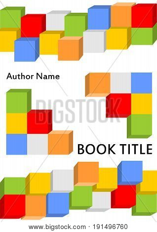 Book cover template in modern design with colored dice kit combined in different perspective. Useful also for brochure paperback flyer leaflet. Cheerful color combinations in red green white orange yellow and blue